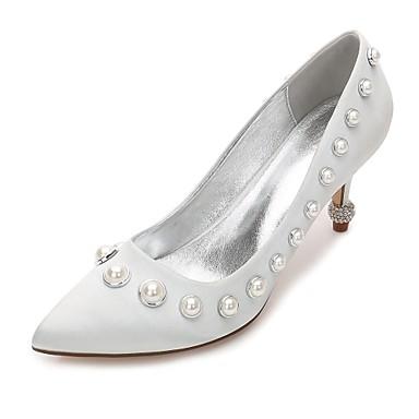 Women's Shoes Satin Spring / Summer Comfort / Basic Pump Wedding Shoes Kitten Heel / Cone Heel / Low Heel Pointed Toe Pearl / Imitation