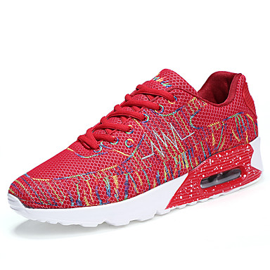 Men's Light Soles Tulle / PU(Polyurethane) Spring / Summer Comfort Athletic Shoes White / Black / Red