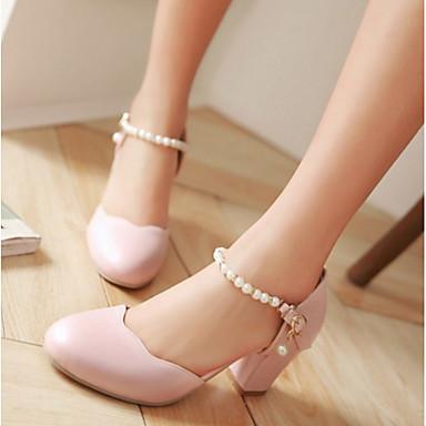 Damen Schuhe PU Sommer Pumps High Heels Blockabsatz Runde Zehe Für Normal Weiß Schwarz Rosa