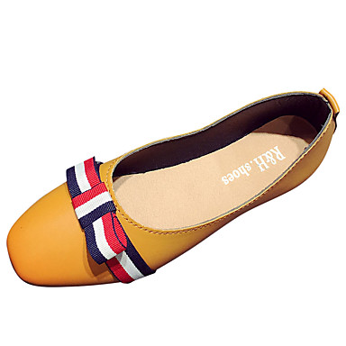 Damen Schuhe PU Sommer Komfort Loafers & Slip-Ons Walking Flacher Absatz Spitze Zehe Schleife für Normal Schwarz Beige Gelb