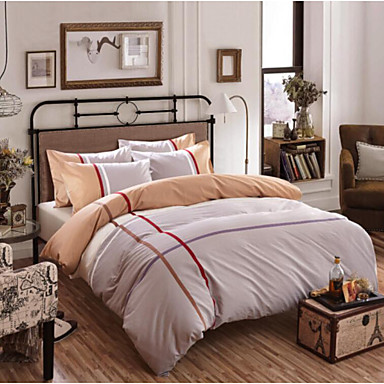 Streifen 4 Stück Baumwolle Baumwolle 4-teilig (1 Bettbezug, 1 Bettlaken, 2 Kissenbezüge)