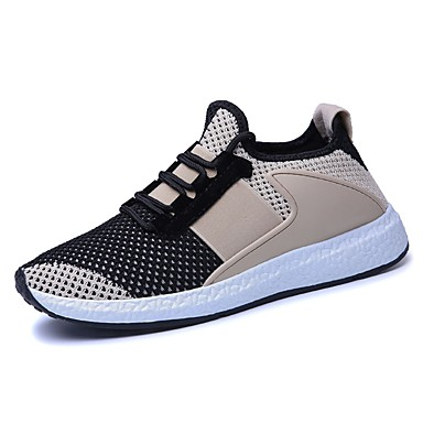 Men's Comfort Shoes Knit / Tulle Spring / Fall Athletic Shoes Running Shoes Black / Beige / Gray / Lace-up