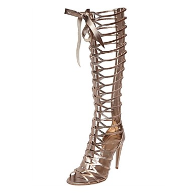Damen Schuhe Echtes Leder Herbst Winter Gladiator Sandalen Offene Spitze Für Normal Gold Silber