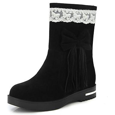 Damen Schuhe Kunstleder Herbst Winter Modische Stiefel Stiefel Walking Flacher Absatz Niedriger Absatz Runde Zehe Mittelhohe Stiefel Mit