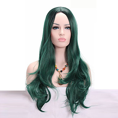 Synthetic Wig Wavy Synthetic Hair African American Wig Green Wig Medium Length Capless Green