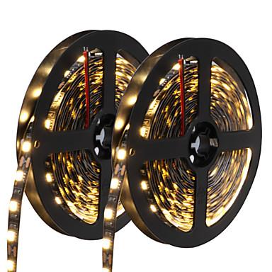 HKV 10 m LED-es szalagfények 300 LED 5050 SMD Meleg fehér / Fehér / Kék Cuttable / Öntapadós 12 V