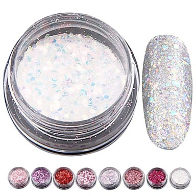 8pcs Glitter Powder Sequins nail art Manicure Pedicure Classic / Shiny / Glamour Daily