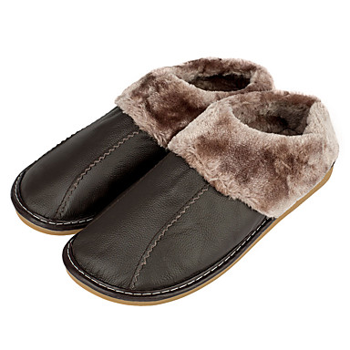 Herren Schuhe Leder Winter Herbst Komfort Slippers & Flip-Flops Kombination für Normal Dunkelbraun