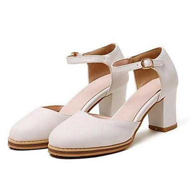 Damen Schuhe PU Frühling Sommer Pumps High Heels Blockabsatz Runde Zehe Für Normal Weiß Schwarz Gelb