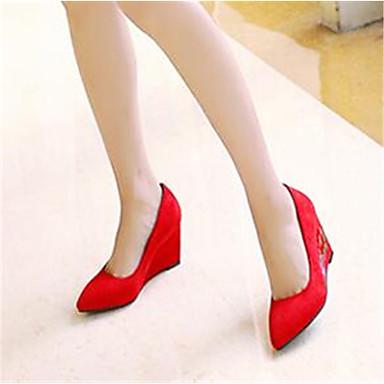 Damen Schuhe PU Frühling Komfort High Heels Für Normal Schwarz Rot