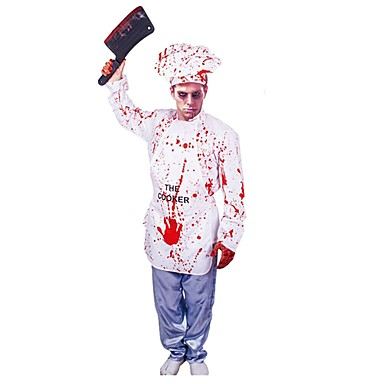 Butcher Cosplay Costume Men's / Women's Halloween / Carnival Festival / Holiday Halloween Costumes White Vintage