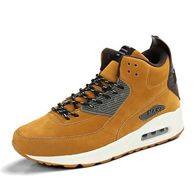 baratos Super Ofertas-Homens Sapatos Confortáveis Couro de Porco Verão / Outono Tênis Corrida Cinzento / Amarelo / Khaki / Cadarço