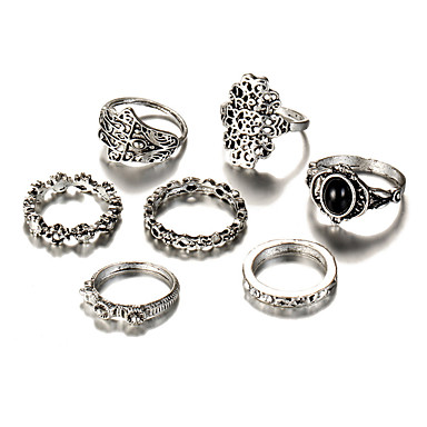 Women's Geometric Rings Set - Silver Plated Flower Vintage, Bohemian, Punk One Size Silver For Wedding / Party / Birthday