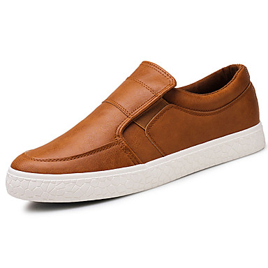 Férfi cipő Szintetikus Mikrorost PU Tavasz Ősz Könnyű talpak Kényelmes Papucsok & Balerinacipők mert Hétköznapi Fekete Szürke Barna
