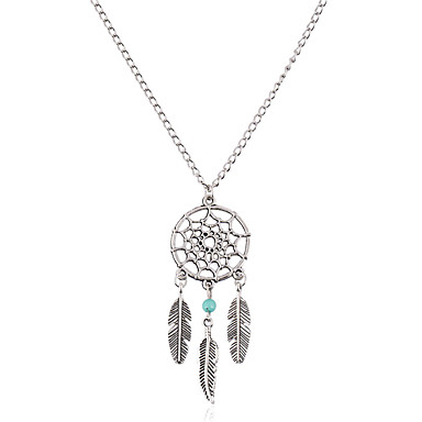 83140c73fd0 Women s Turquoise Pendant Necklace Chain Necklace Turquoise Leaf Wings Dream  Catcher Ladies Vintage Bohemian Fashion Silver Necklace Jewelry For Gift  Daily ...