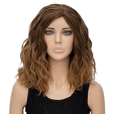 Synthetic Wig Water Wave Synthetic Hair Ombre Hair Brown Wig Women's Short Capless