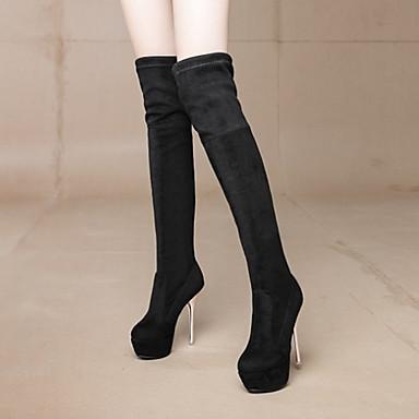 Bout 06239124 Femme Bottes rond Lacet Chaussures Aiguille Noir Gris Automne Talon la Bottes à Confort Hiver Nouveauté Mode Bottes Daim fOfWSnZ6H