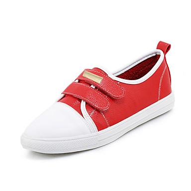 Női Cipő Bőrutánzat Tavasz Ősz Puhatalpú cipő Kényelmes Sportcipők Lapos Kerek orrú Tépőzár mert Szabadtéri Fehér Fekete Piros