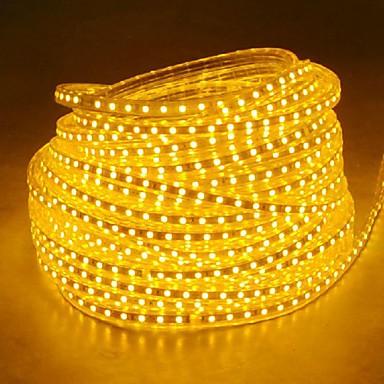 abordables Bandes Lumineuses LED-20m 220v haute luminosité led bande de lumière flexible 5050 1200smd trois cristal étanche barre de lumière lumières de jardin avec prise d'alimentation de l'ue