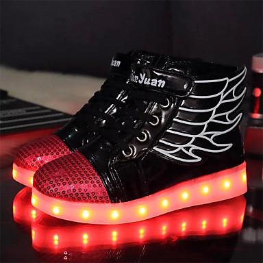 Fiú cipő PU Tél Ősz Világító cipők Újdonság Kényelmes Tornacipők Átlátszó ragasztószalag Fűző mert Hétköznapi Szabadtéri Fehér Fekete