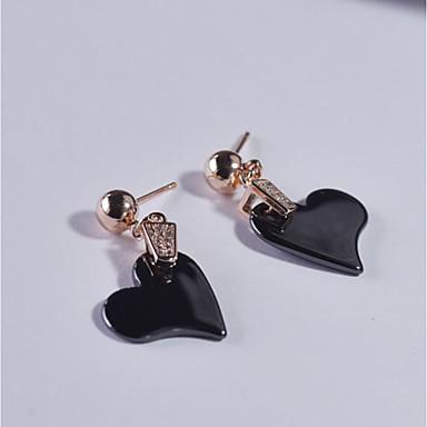 Női Kocka cirkónia Beszúrós fülbevalók - Ezüst Szív Fehér, Fekete / Hipoallergén / Hipoallergén