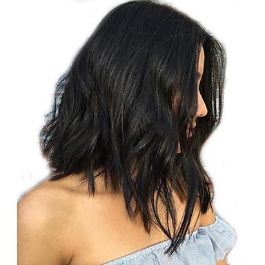 Emberi haj Csipke eleje Paróka Brazil haj Hullámos / Természetes hullám Paróka Bob frizura 130% Középen elválasztott frizura / Természetes hajszálvonal / Afro-amerikai paróka Női Rövid Emberi hajból