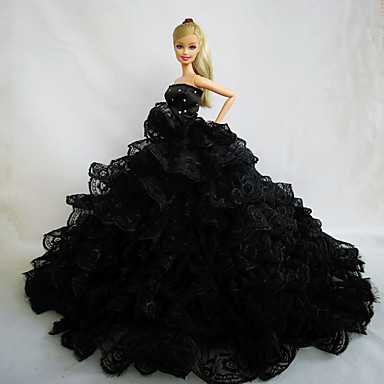 Festa/Noite Vestidos Para Boneca Barbie Renda Cetim Vestido Para Menina de Boneca de Brinquedo