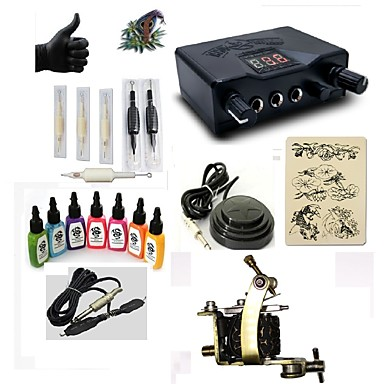 BaseKey Tattoo Machine Starter Kit - 1 pcs Tattoo Machines with 7 x 15 ml tattoo inks, Professional LED power supply Case Included 1 steel machine liner & shader