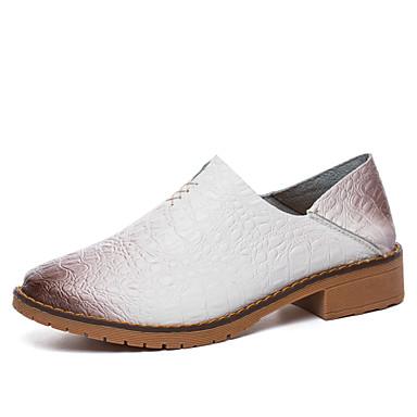 בגדי ריקוד נשים נעליים עור אביב / סתיו נוחות נעליים ללא שרוכים הליכה שטוח בוהן עגולה שחור / חום / כחול