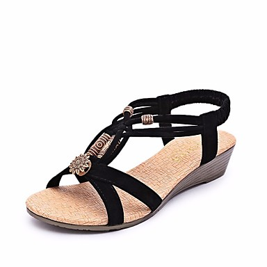 Women's Shoes Fleece Summer Comfort Sandals Flat Heel Open Toe Black / Beige