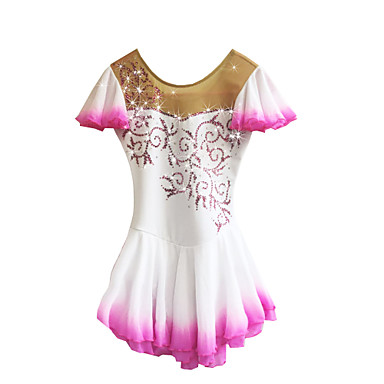 Figure Skating Dress Women's / Girls' Ice Skating Dress White Spandex Rhinestone High Elasticity Performance Skating Wear Handmade Solid Colored Sleeveless Ice Skating / Figure Skating