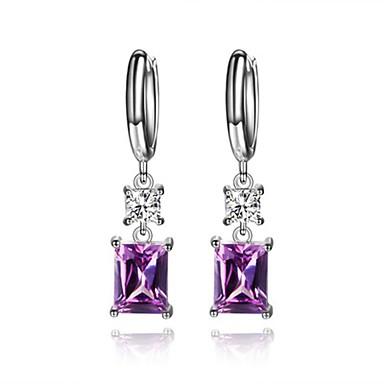 Női Luxus / Hipoallergén Szintetikus gyémánt Cirkonium Beszúrós fülbevalók - Luxus / Geometrijski oblici / Hipoallergén Bíbor Négyzet