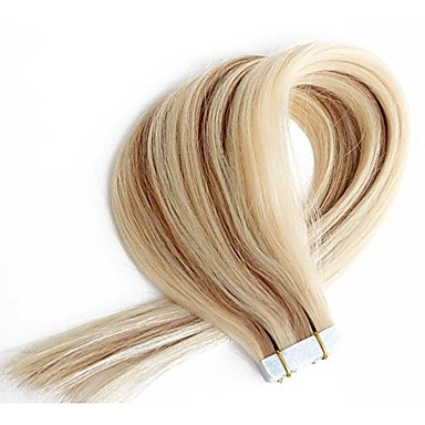 Tape In Human Hair Extensions Straight Human Hair Extensions Human Hair Women's - Beige Blonde /  / Bleach Blonde
