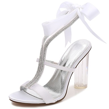 Women's Shoes Satin Spring / Summer T-Strap / Basic Pump / Ankle Strap Wedding Shoes Chunky Heel / Translucent Heel / Crystal Heel Round