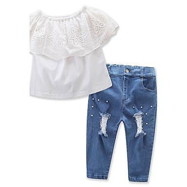Kisgyermek Lány Csipke / Elegáns ruházat Egyszínű Rövid ujjú Szokványos Szokványos Pamut / Poliészter Ruházat szett Fehér 100