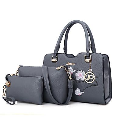 Női Táskák PU táska szettek 3 db erszényes készlet Cipzár Arcpír rózsaszín / Szürke / Katonai zöld