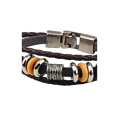 Men's Leather Bracelet - Leather Anchor Punk Bracelet Black / Coffee For Casual / Stage