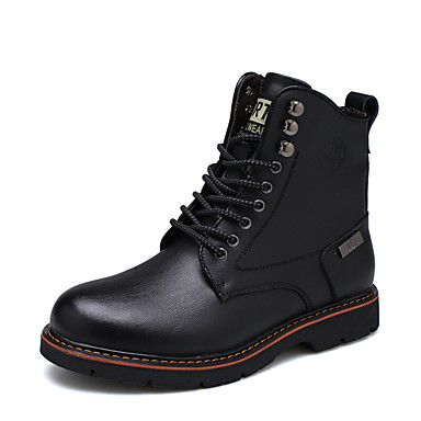 Men's Snow Boots Leather Fall / Winter Oxfords Booties / Ankle Boots Black / Brown / Party & Evening