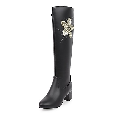 Women's Shoes Leatherette Fall / Winter Fashion Boots / Riding Boots Boots Chunky Heel Round Toe Knee High Boots Rhinestone / Sparkling