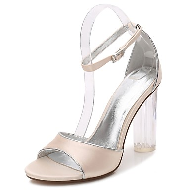 Women's Shoes Satin Spring / Summer Basic Pump / Ankle Strap / Transparent Shoes Sandals Chunky Heel / Translucent Heel / Crystal Heel