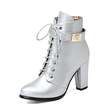 Women's Shoes Leatherette Winter Fashion Boots Boots Chunky Heel Round Toe Booties / Ankle Boots Zipper / Lace-up Black / Silver /
