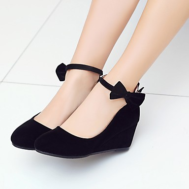 Women's Shoes Nubuck leather Spring / Fall Comfort / Ankle Strap Heels Wedge Heel Round Toe Bowknot / Buckle Black / Red / Wedding