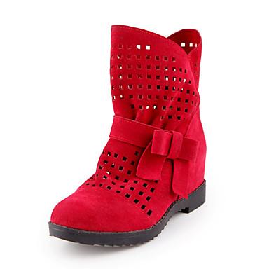 Botte Femme bottes Eté 06236984 Rouge Jaune Bottes Hiver Demi Confort Noeud Similicuir Gris Bas rond Talon Chaussures slouch Bout Bottine X1wxr16