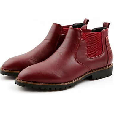 Férfi cipő Bőr Tél Ősz Közepesen magas szárú bakancs Divatos csizmák Kényelmes Csizmák mert Hétköznapi Szabadtéri Fekete Barna Burgundi