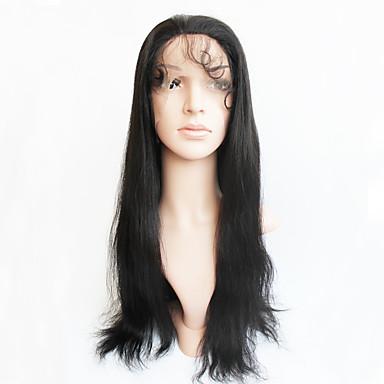 Emberi haj Csipke Paróka Brazil haj Egyenes Tincselve 130% Sűrűség 100% kézi csomózású Afro-amerikai paróka Közepes Női Emberi hajból