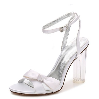 05285f46c39 Women s Shoes Satin Spring   Summer Basic Pump   Ankle Strap   Transparent Shoes  Wedding Shoes Chunky Heel   Translucent Heel   Crystal