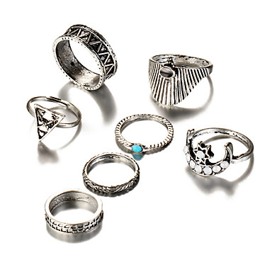 Női Bohém Türkizkék Türkiz / Ötvözet MOON Gyűrűk készlet - Trokuti Geometrijski oblici / Vintage / Bohém Ezüst Gyűrű Kompatibilitás