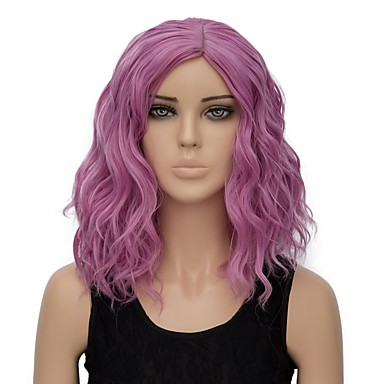 Synthetic Wig Water Wave Pink Synthetic Hair Ombre Hair Pink / Purple Wig Women's Short Capless Pink / Purple