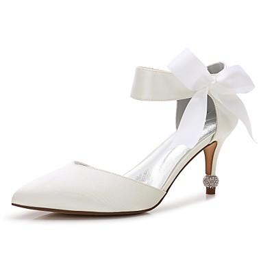 Χαμηλού Κόστους Γυναικεία παπούτσια γάμου-Γυναικεία Γαμήλια παπούτσια Γατίσιο Τακούνι / Τακούνι Κώνος / Χαμηλό τακούνι Μυτερή Μύτη Φιόγκος / Σατέν Λουλούδι / Κορδόνια Σατέν Ανατομικό / Ανοιχτό στα πλάγια / Βασική Γόβα Άνοιξη / Καλοκαίρι