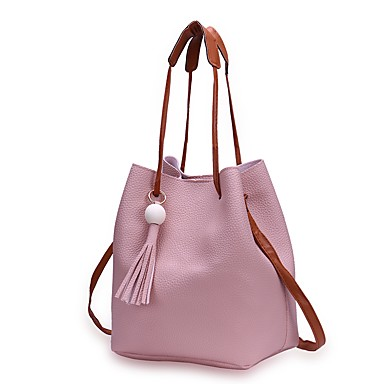Women's Bags PU(Polyurethane) Bag Set Zipper Black / Blushing Pink / Gray